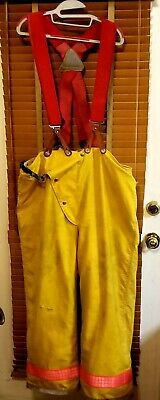 Globe 42 X 32 Firefighter Turnout Bunker Pants Original Lion Suspenders
