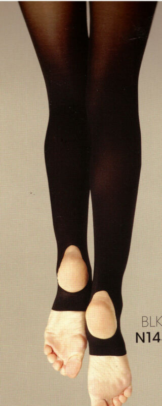 NWT Capezio 145 Stirrup Tights Child/Adult Black Hold & Stretch Lycra supportive