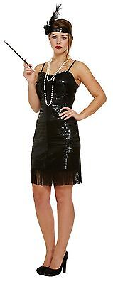 Lady Black Flapper 1920's Fancy Dress With  Sequins Charleston Gatsby One Size