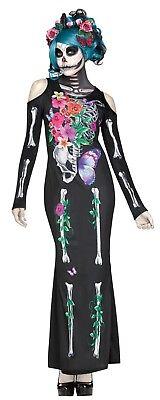 Fun World Schön Knochen Zuckerschädel Skelett Erwachsene Halloween Kostüm (Schöne Knochen Kostüm)