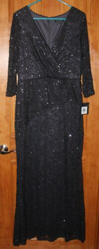 New Women's Formal Dress MARINA Long Sleeves Evening Gown Navy Blue Plus Size 16