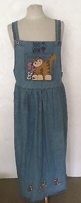 Apache Cats Birds Denim Jumper Dress w Pockets Sz XXL 2x - Apache Attire