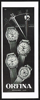 1950's Vintage 1951 Ofina Watch Co. Watches - Paper Print AD