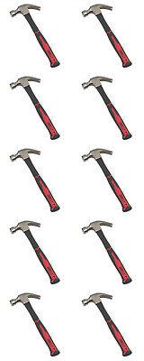 10 x Forge Steel Fibreglass Shaft Claw Hammer 20oz / 0.57kg Quality Free P&P New