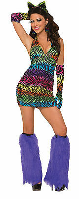 Rainbow Zebra Print Sexy Halter Dress/Costume for Adults New by Forum 73069](Zebra Costume Adult)
