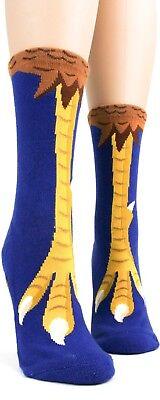Chicken Feet Slippers (Foot Traffic Chicken Feet Slipper Non Skid Socks Ladies Crew Socks Blue Gold)