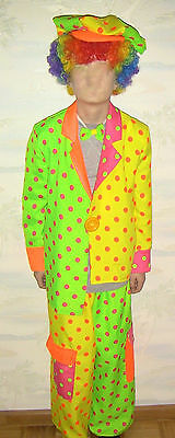 Clown Junge Fluo Kostüm Anzug mit Fliege Clownskostüm für Kinder Zirkus Fasching