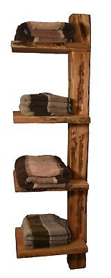 Wood & Wishes- Rustikales Massivholz Bad Wandregal,Handtuchhalter,Treibholzoptik (Rustikale Regale Wand)