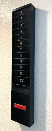 Vintage Lathem Time Card Holder Black Metal 12 Slot