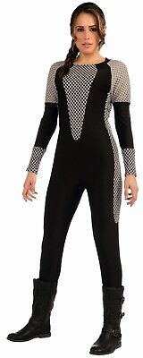 Hunger Games Woman (Hunger Games Training Suvivor Jumpsuit Adult Women's Costume Black Grey)