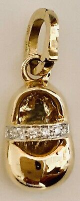 Diamond Accent Baby Shoe - 18K Yellow Gold Baby Shoe Charm with a Diamond Accent