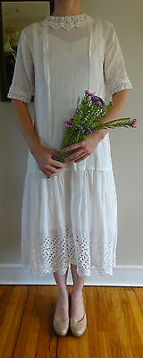 White Cotton Edwardian Lace Pintuck Vintage Antique Lawn Summer Tea Dress S