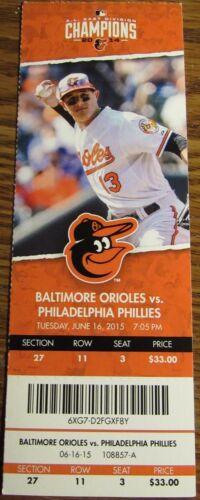 June 16th, 2015 Baltimore Orioles vs. Phillies Ticket Stub - Manny Machado