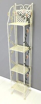 Etagere 4 Piani Mensola scaffale ferro panna decoro fiori provenzale Shabby chic