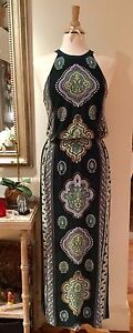 tigerlily Black Floral Maxi Holter Dress Sz 10 Side Split Double Bay Eastern Suburbs Preview
