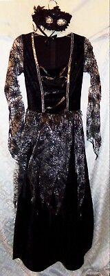 Damen Halloween Kostüm Kleid mit / Maske Schwarz Spinnennetz Hexe S