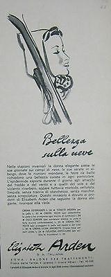 1938 PUBBLICITA COSMETICI BELLEZZA SULLA NEVE SCI CREMA ELISABETH ARDEN
