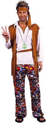 Hippiekostüm für Herren mit Stirnband bunt - Hippie Kostüm Für Herren