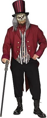 Freak Show Ring Master Adult Men's Halloween Costume Creepy Circus Plus Size New (Creepy Ringmaster Costume)