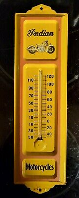 vintage INDIAN MOTORCYCLES Thermometer - Sign . rare old motorcycle auto gas oil