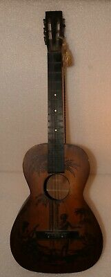 1930 RICHTER MFG COMPANY CHICAGO ILLINOIS ACOUSTIC GUITAR HAND PAINTED HAWAIIAN