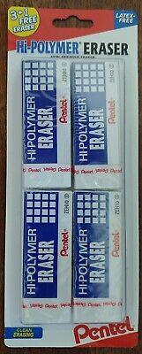 Pentel Hi-polymer Eraser 4-pack New In Shrink Wrap