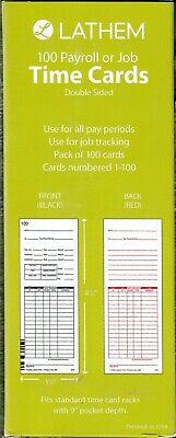 Lathem Time E79-100 Time Cards For Lathem 7000e And 7500e Time Clocks