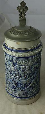 alter Bierkrug Salzglasur mit Zinndeckel