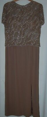 La Belle Fashions Mother Bride Dress Formal Gown 80s Brown Silver Beaded 14