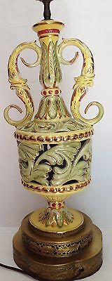ANTIQUE FRANCE ? BERGER DOLPHIN FIGURAL TABLE LAMP GOLD DECO TALL 38""