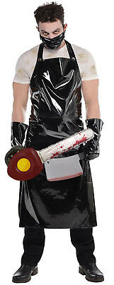 Mens Evil Horror Butcher Apron Texas Chainsaw Halloween Fancy Dress Costume