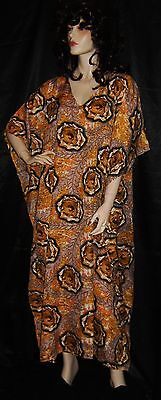 Good Times Gold Orange Black 1x 2x 3x 4x 5x 6x Plus Long Muu Muu Caftan