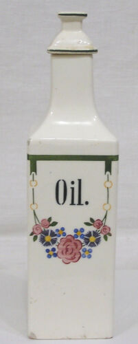 Vintage Kitchen Oil Bottle Art Deco Flowers Geometrics Made In Germany 1930s