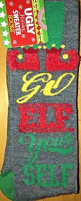 New UGLY CHRISTMAS SWEATER SOCKS Mens Pair Socks 'GO ELF YOURSELF' FUNNY