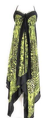 Ladies V Neck Halter Handkerchief Hem Embellished Animal Print Dress NWT S-M-L - Dress Handkerchief Hem