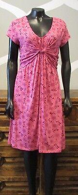 (GARNETT HILL 8 Pink Purple Floral Mum Print Stretch Knit Ruched Knot Dress)