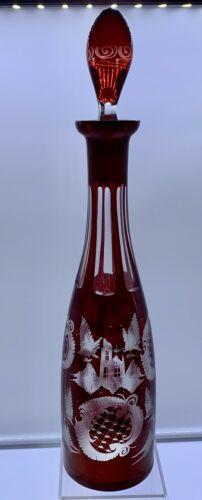 "ANTIQUE EGERMANN CASTLE DEER BIRDS RUBY RED CLEAR BOHEMIAN GLASS DECANTER 16"""