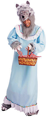 Big Bad Granny Wolf Adult Costume Nightgown With Furry Headpiece Halloween (Big Bad Wolf Granny Costume)