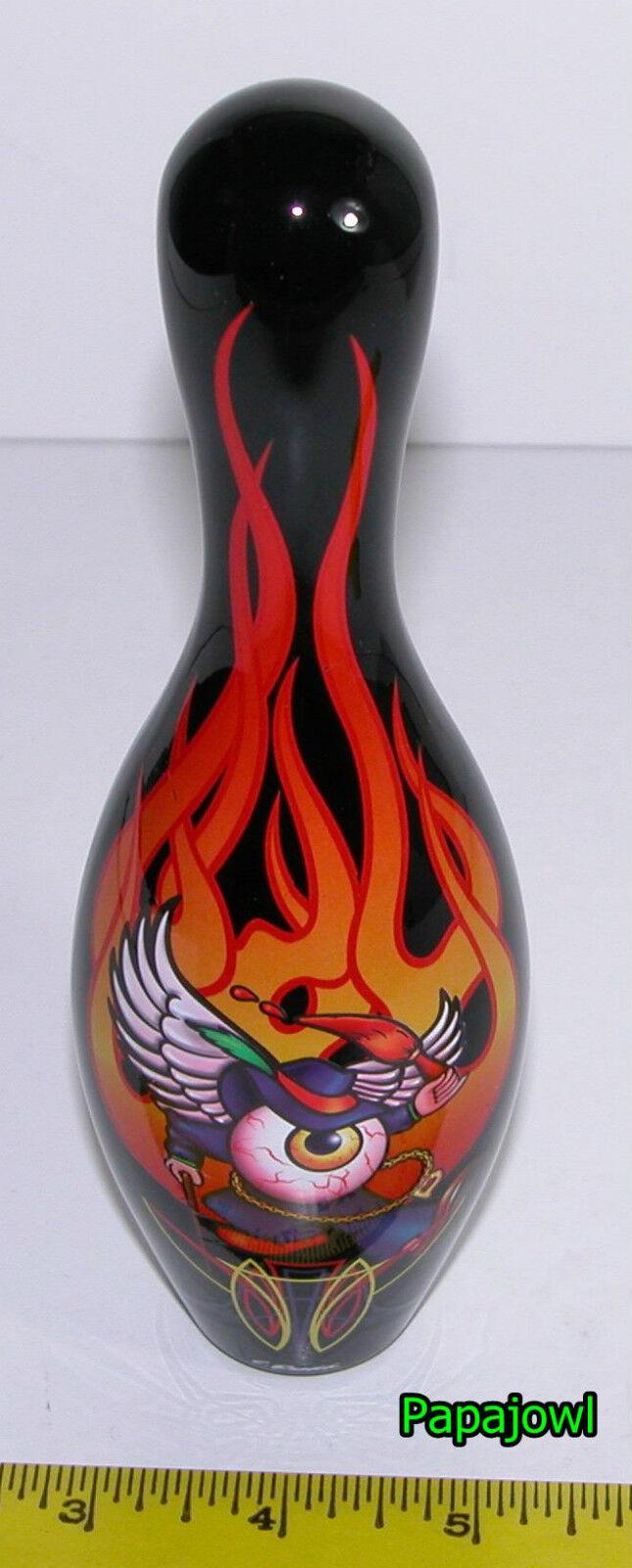 "HOT ROD UNDERGROUND PIN HEAD Miniature FLAMED SKULL 7 1//2/"" Bowling Pin Art Judd"