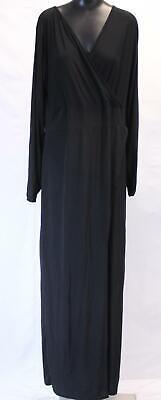 Boohoo Women's Plus Lacey Wrap Front Sunny Maxi Dress KB6 Black Size US:18/UK:22