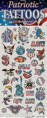 USA PATRIOTIC TATTOOS (35) ~ Birthday Party Supplies Favors Liberty Eagle Flag
