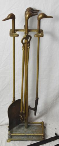Vintage Brass Duck Head Fireplace Tool Set - 5 Piece - 4 Tools & Stand