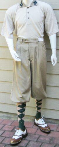 New Men Golf Knickers Khaki Microfiber Outfit GTCT Knicker -Shirt-Socks