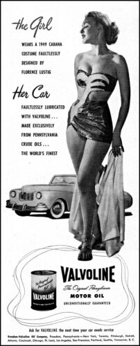 1948 Pinup Girl Sports Car Valvoline Motor Oil vintage photo print ad adl10