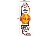 """GAS PUMP 18/"""" x 5.7/"""" Shell GASOLINE LUBSTER FRONT DECAL LUBESTER OIL CAN"""