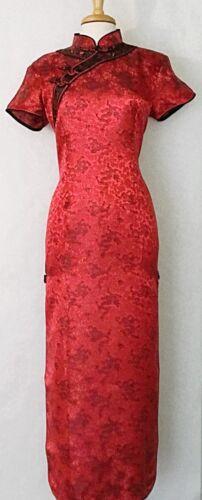 Large Size Women Dress Brocade Chinese Cheongsam Qipao Long Dress Red