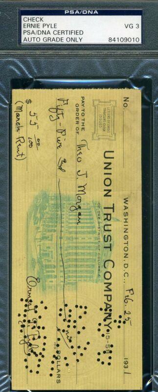 Ernie Pyle Psa Dna Signed 1931 Check Autograph