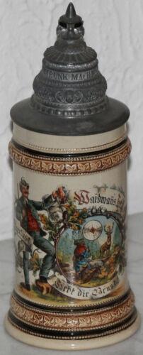 """Good Hunting!"" 1/2 liter German beer stein antique St Hubert"
