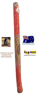 DIDGERIDOO BURNT COLOUR HARDWOOD UP TO 130CM ABORIGINAL STYLE HAND PAINTED NEWRB