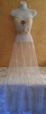 Boho Ivory Vintage Style Lace Sheath Bridal Wedding Garden Gown Maxi Dress